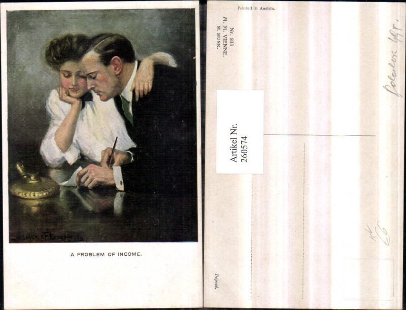 M. Munk Vienne 833 Künstler Clarance F. Underwood Liebespaar Paar Tinte P