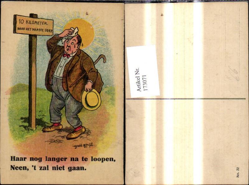 Künstler Ak Donald Mc Gill Scherz Humor Dicker Mann v. Wegweiser Spruch T