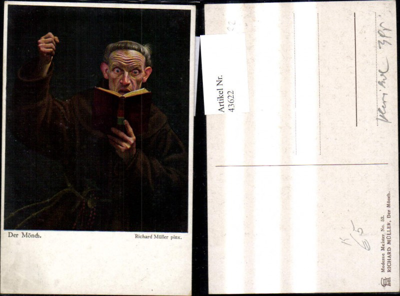 Künstler Ak Richard Müller Der Mönch Bibel Religion