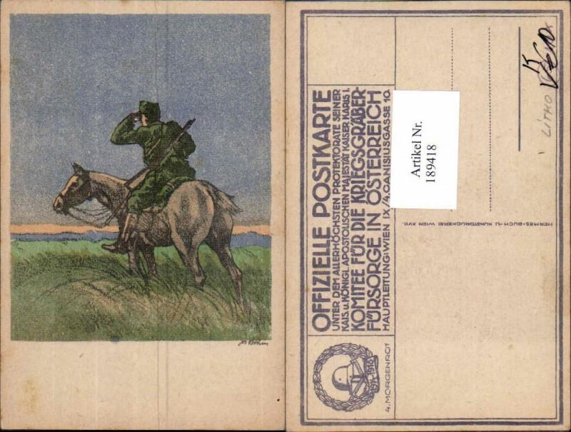 Künstler AK Josef Böhm Kavallerie Soldat hält Ausschau Morgenrot