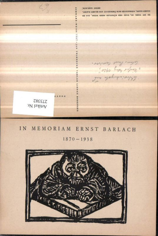 Künstler AK Ernst Barlach Mann Passepartout