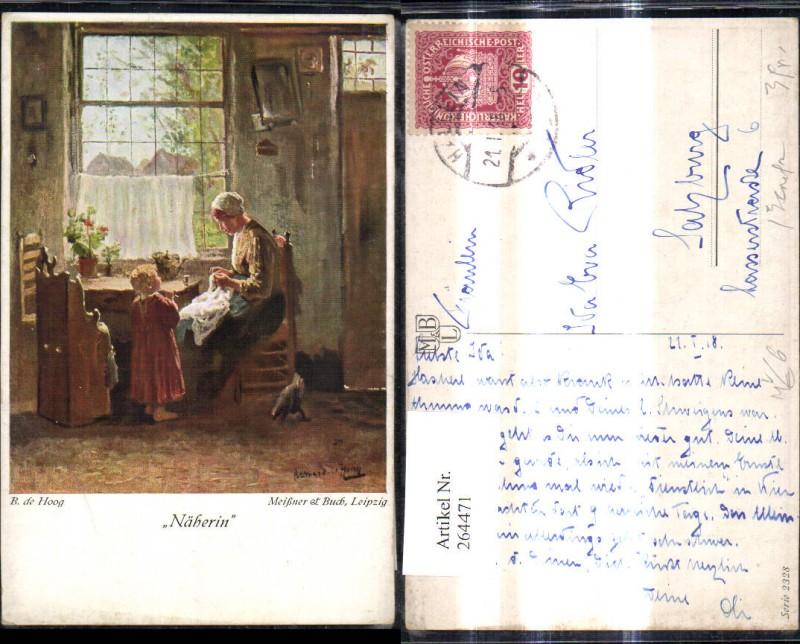 Künstler Ak Meissner & Buch 2328 D. De Hoog Näherin Frau m. Kind Handarbe