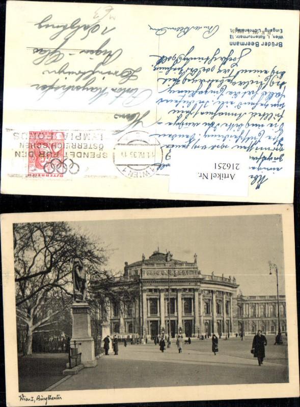 Wien 1 Burgtheater Theater Strassenbahn Ringlinien Denkmal Statue Persone