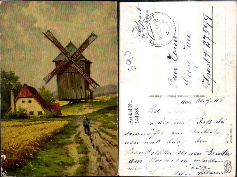 Künstler Ak W. Hoy Windmühle II Bauer m. Sense i. Vordergrund pub Degi 12