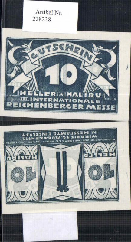 228238,seltener Gutschein 10 Heller Reichenberg Liberec Reichenberger Messe 1922