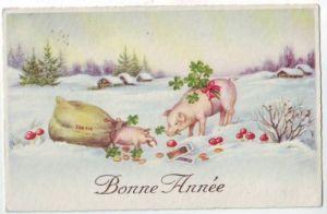 30384,Bonne Annee Schweinchen Ferkel geldsack