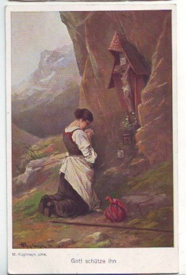32215,Gott schütze Ihn sign. M. Kuglmayr 1915
