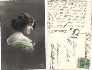 PRETTY PROFILE POSE EDWARDIAN GIRL  Photo Postcard