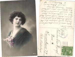 LOVELY PROFILE PRETTY GIRL FLOWERS Photo Postcard