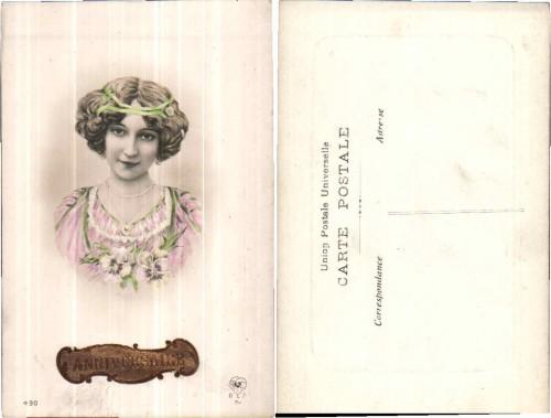 VERY NICE 1900s VINTAGE ART NOUVEAU GIRL PORTRAIT