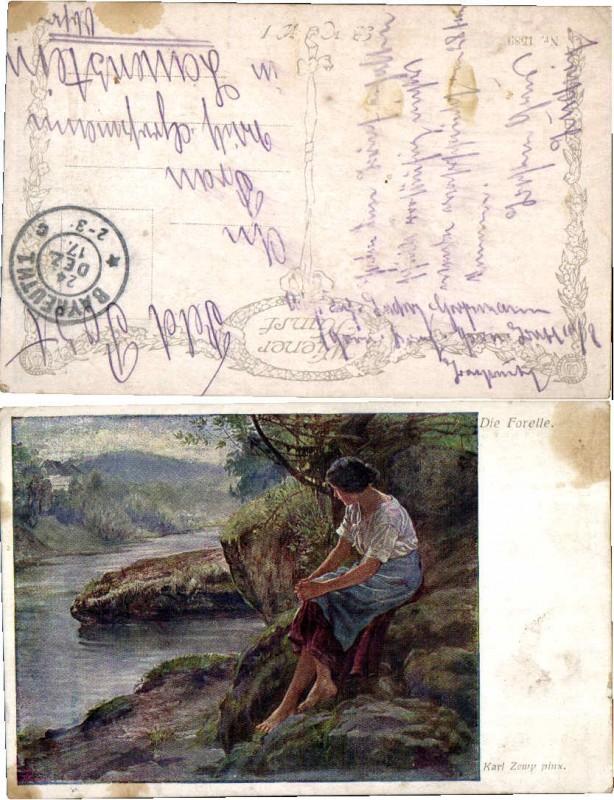 43629,Artist Pc Die Forelle sign Karl Zewy B.K.W.I. 1589