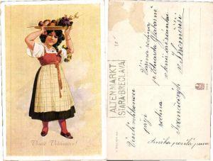 43665,Tschechisches Mädchen Tracht Karl Simunek sign.