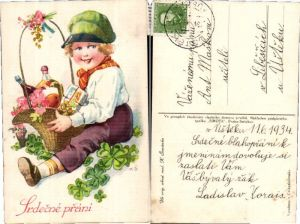 43855,Artist Pc K. Simunek sign Geschenkskorb Kind