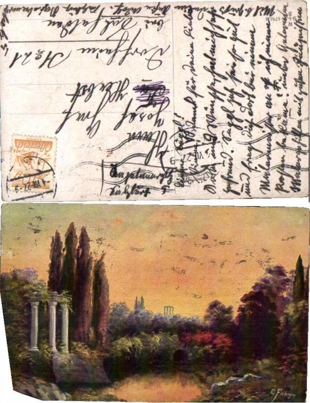 47618,Künstlerkarte Landschaft Griechenland G. Fiebiger