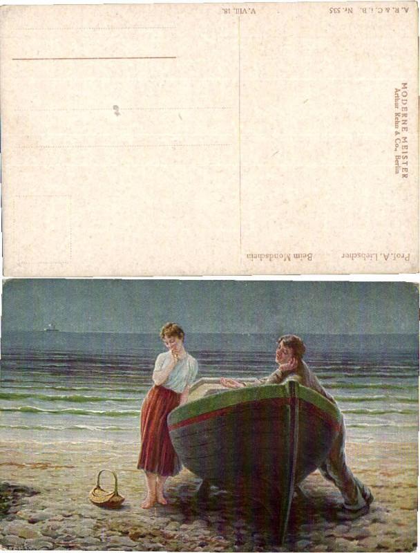 47646,A. Liebscher Beim Mondschein Mann hält um Hand an