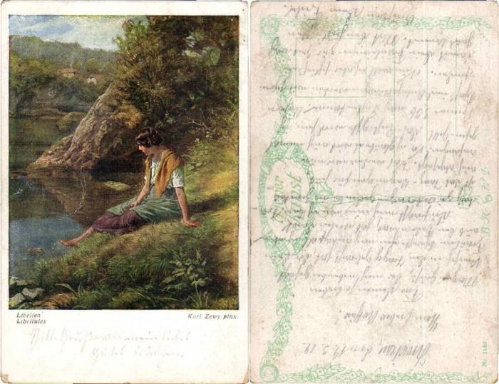 56019,C. Zewy Libellen Frau am Ufer