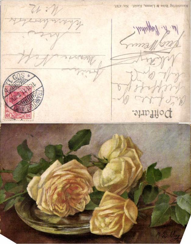 56079,Gelbe Rosen sign. M. Billing