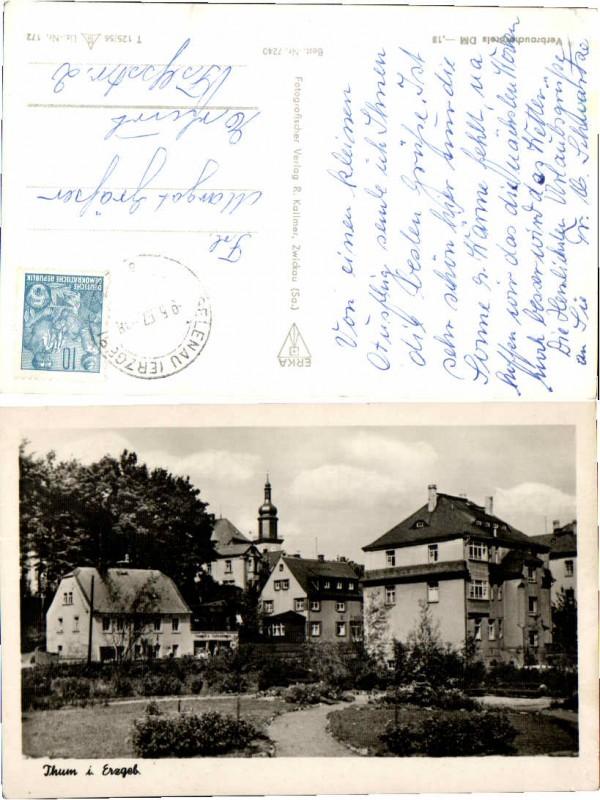 57522,Thum im Erzgebirge Partie im Ort 1957 Gelenau