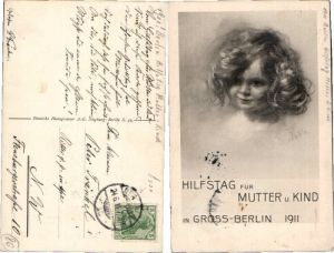 Mädchen Portrait Berlin Hilfstag f. Mutter Kind Ratzka sign. 59434