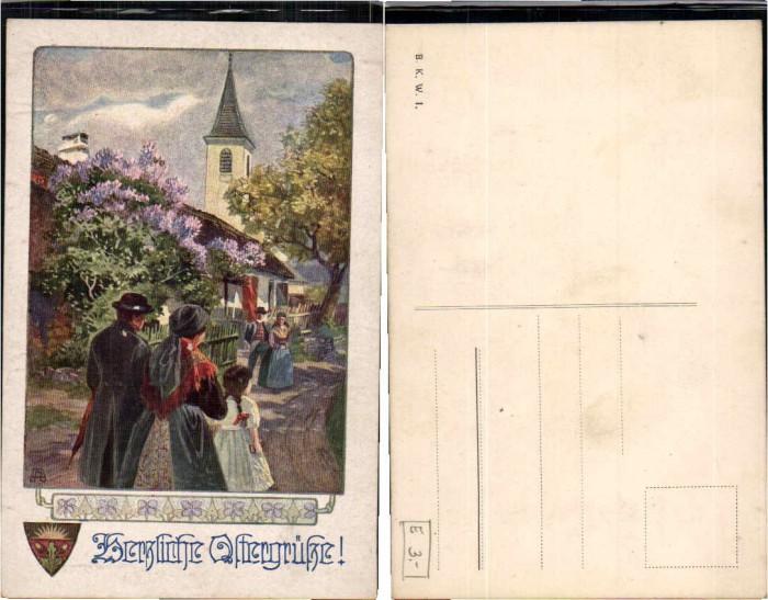 62856,Dt Schulverein ? Ostergrüsse E. Reckziegel sign. B.K.W.I