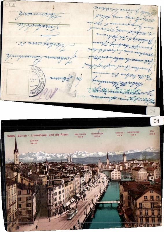 64554,Zürich Limmatquai m Alpen