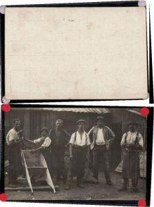 70953,Tischler Gesellen b. Arbeit Scheibtruhe FotoAK