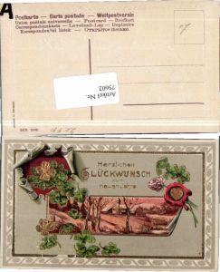 75602,Präge AK Neujahr Kleeblätter Blume Pracht Karte