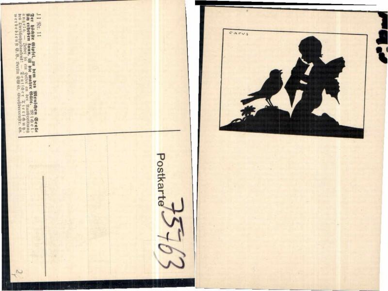 75763,Scherenschnitt Tierschutzverein Engel Vogel Carus Krause sign