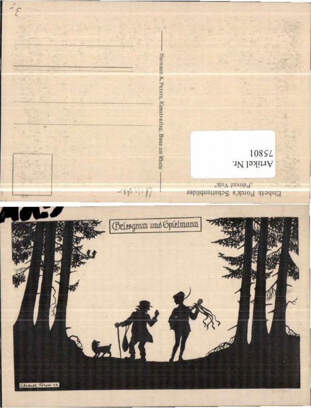 75801,Scherenschnitt Elsbeth Forck Hund Griesgram Spielmann