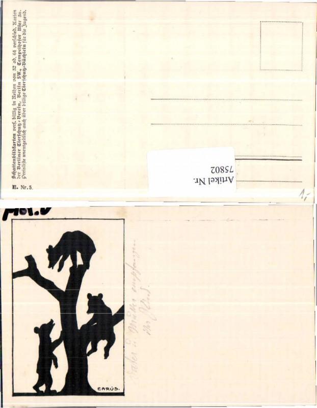 75802,Scherenschnitt Tierschutzverein Bären Carus Krause sig