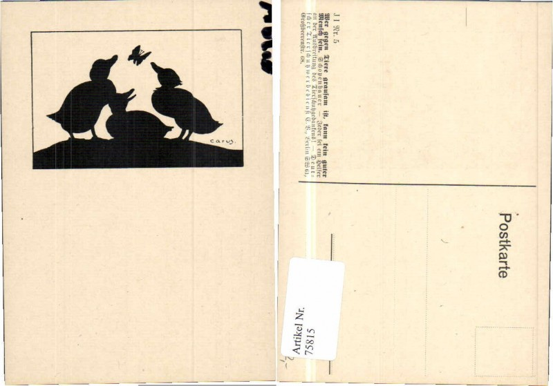 75815,Scherenschnitt Tierschutzverein Schmetterling Carus sign
