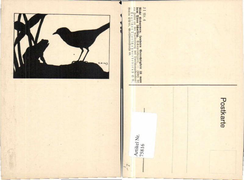 75816,Scherenschnitt Tierschutzverein Carus Frosch Vogel