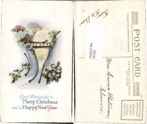76785,Präge AK Neujahr Haus im Winter Glitzer Karte