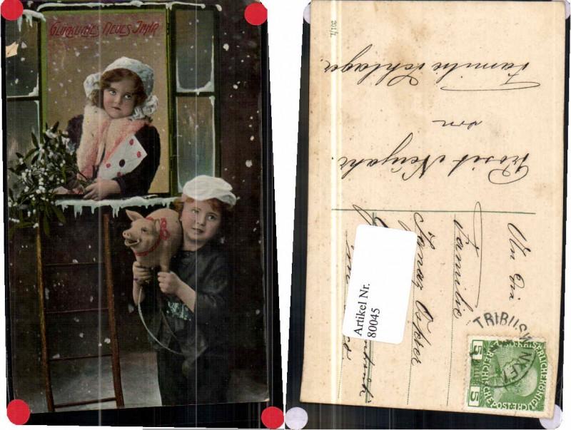 80045,Neujahr Junge als Schornsteinfeger Fenster m. Mädchen Ferkel