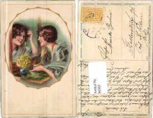 80303,Maxim Trübe Glamour Frau Spiegel Halskette Art Deco