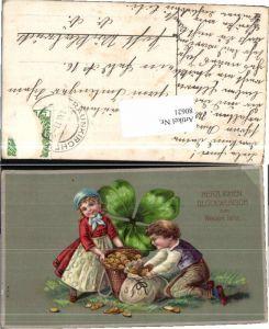 80621,Neujahr Kinder Münzen Geld Kleeblatt Geldsack