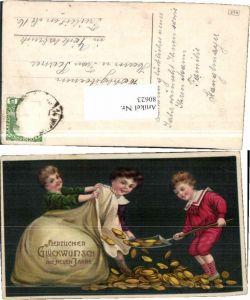 80623,Neujahr Kinder Geldsack schaufeln Geld Münzen