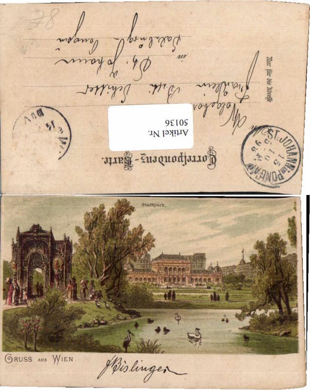 50136,Litho Gruß aus Wien Stadtpark 1898