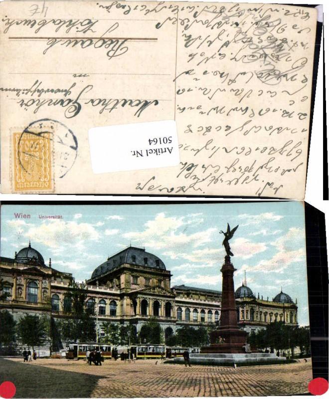 50164,Wien Universität Strassenbahn Denkmal 1917
