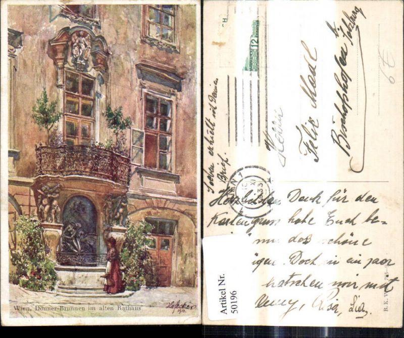 50196,Wien Donner Brunnen Rathaus E.F. Hofecker B.K.W.I 793-9