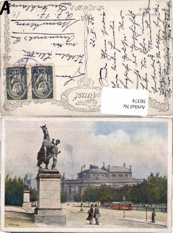 50374,Wien Burgtheater Strassenbahn R. Preuss sign. B.K.W.I 432-6