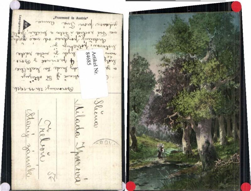 84685,L. Schweiger Bäume Wald Bäuerin 1915