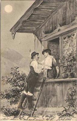 Fec. Ch. Scolik  Bauern Paar am Fenster 1900