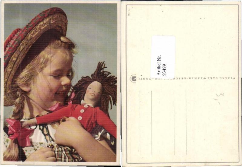93499,Mädchen m. Hut Puppe Strohhut Hat Doll