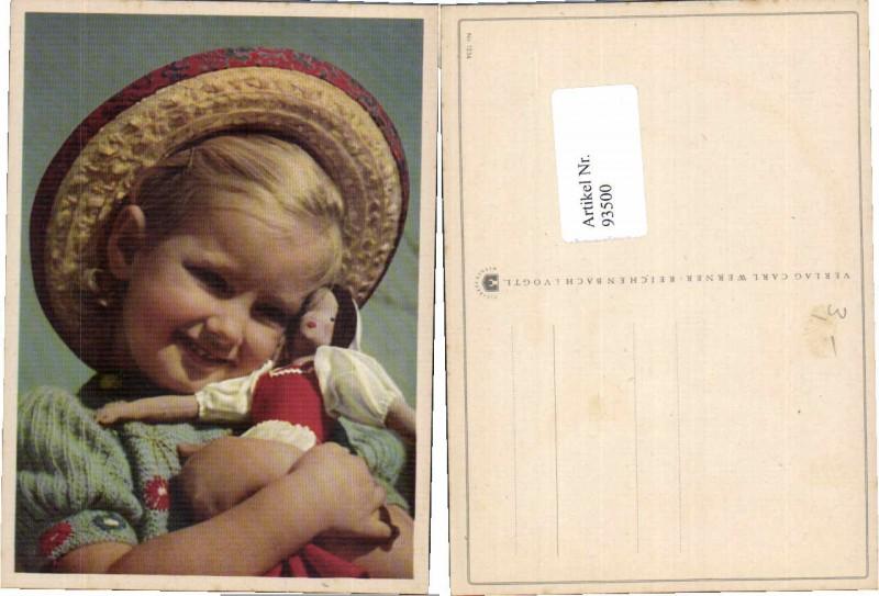 93500,Mädchen m. Puppe Hut Strohhut Hat