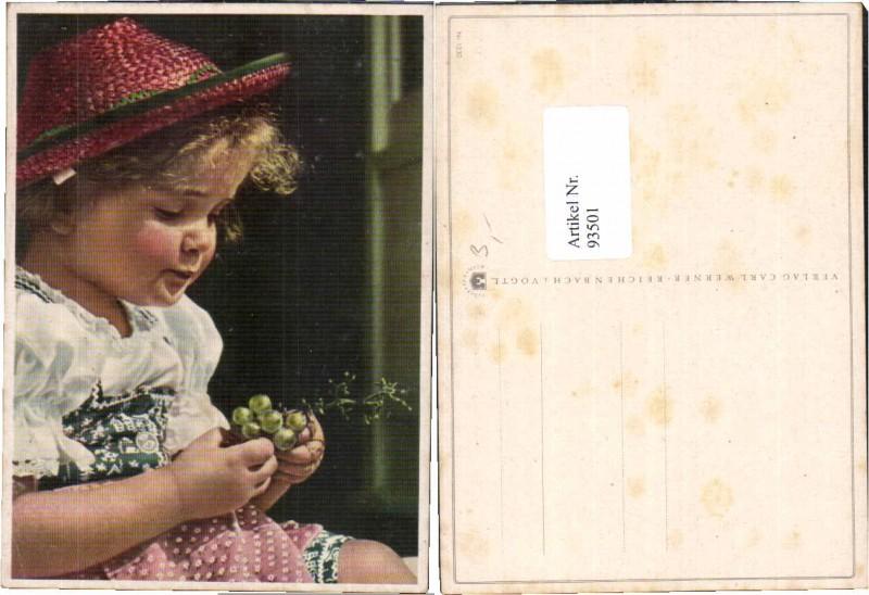 93501,Mädchen Weintrauben Hut Hat Strohhut