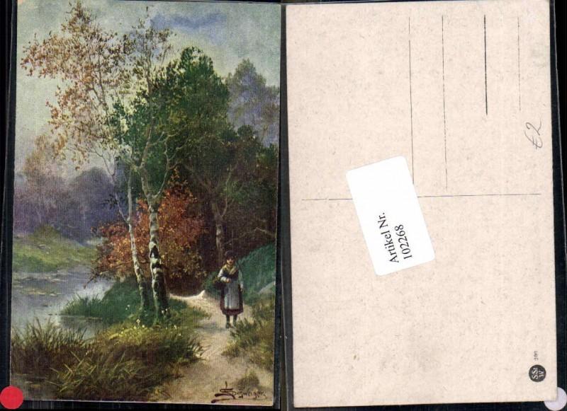102268,L. Schweiger Künstlerkarte Wald Frau Bäume