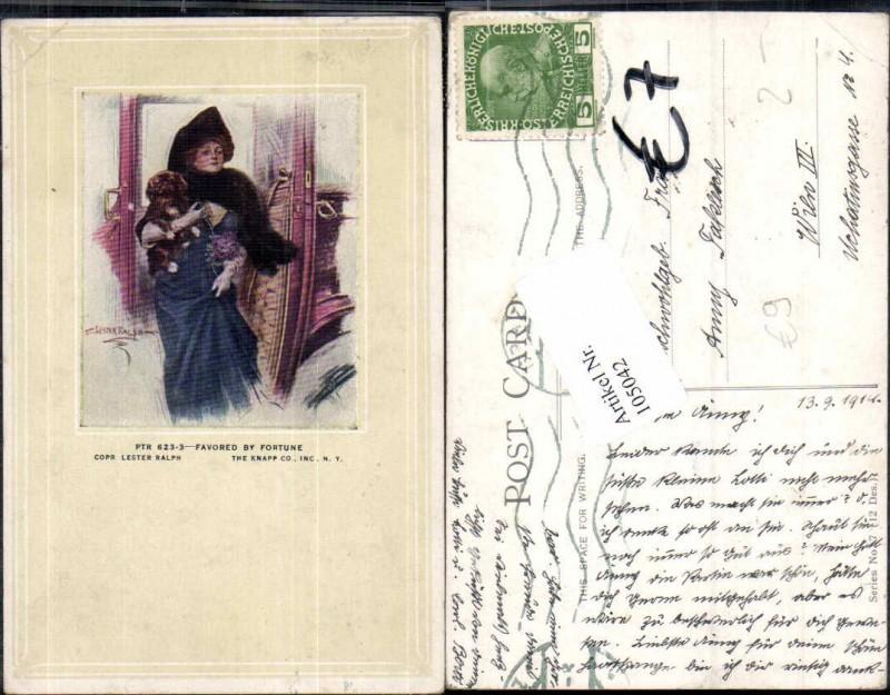 105042,Art Nouveau Hund Frau Jugendstil Glamour Lester Ralph sign
