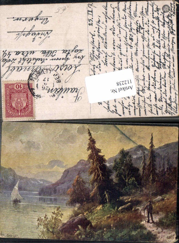 112238,L. Schweiger sign. jagd Jäger am Uferweg See Bäume See Künstlerkarte
