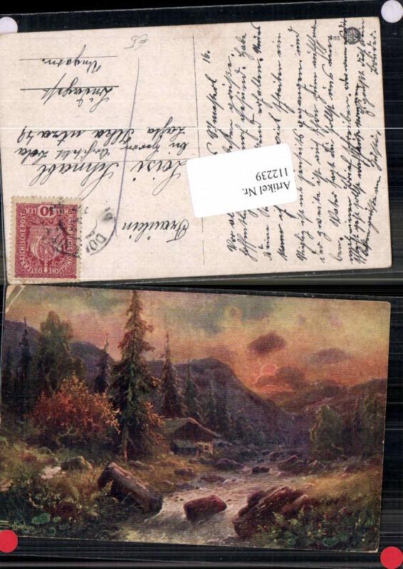 112239,L. Schweiger Bauernhaus im Wald Sonnenuntergang